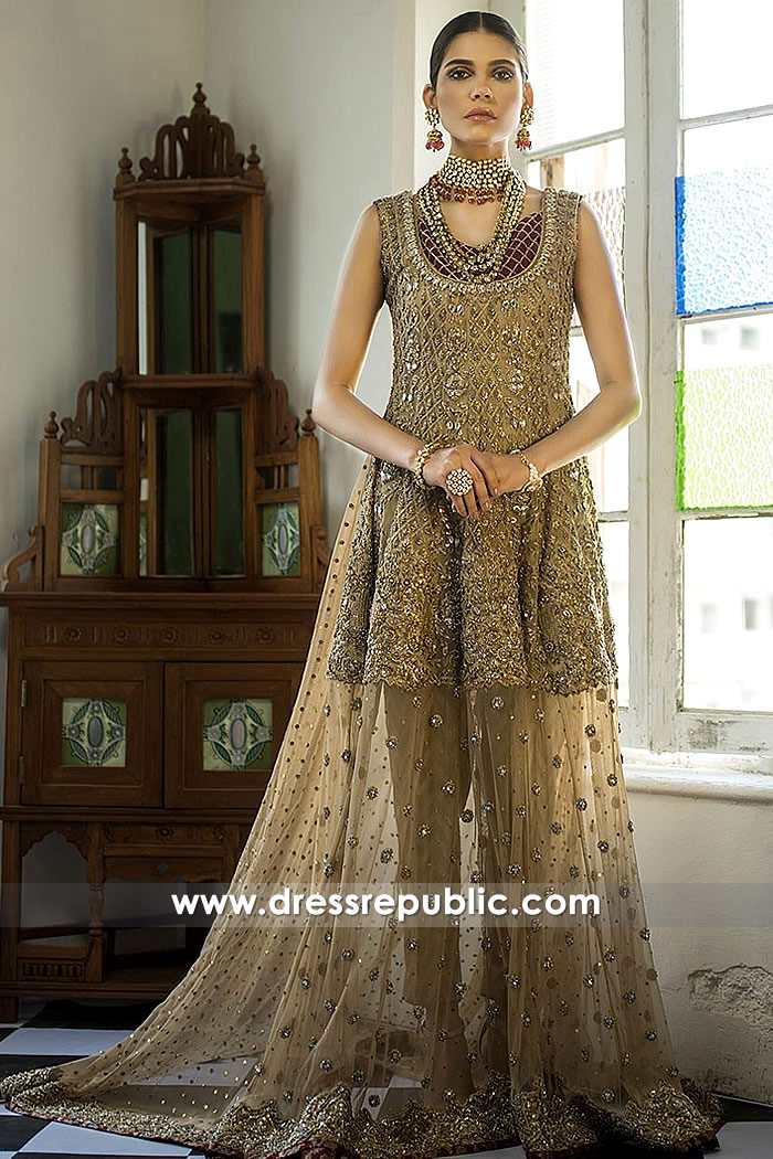 DR15285 Champagne Special Occasion Lehenga with Peplum Shirt Buy in USA