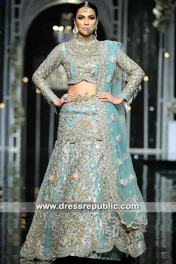 DR15325 Turquoise Bridal Lehenga for Walima Reception, Nikkah, Engagement