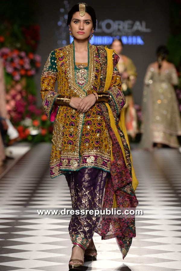 DR15327b Mustard Shalwar Kameez for Mehndi Mayoon Henna Night Latest Designs