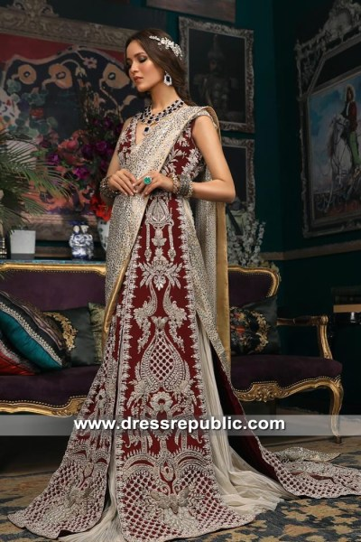 DR15350 Deep Red Sana Safinaz Bridal Lehenga Choli 2019 Shop Online