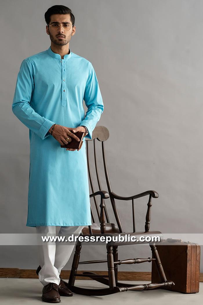 DRM5278Men's Blue Kurta Shalwar Suits Los Angeles, San Francisco, California