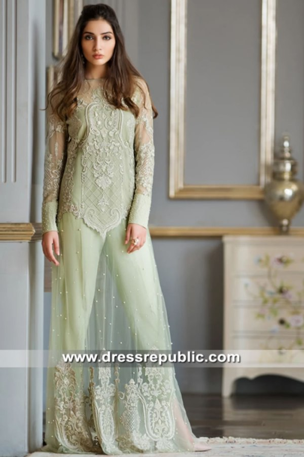 DR15637 Pale Mint Pistachio Green Dress for Mehndi Party Sangeet Henna Online