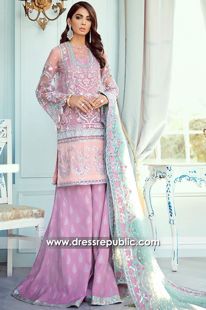 DR15711 Pakistani Designer Sharara in Lavender 2020 Collection UK, Europe