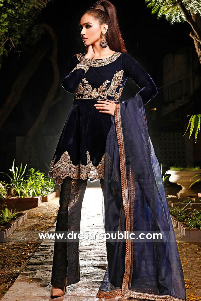 DR15741 Velvet Wedding Guest Dresses by Pakistani Designers in Manchester, UK