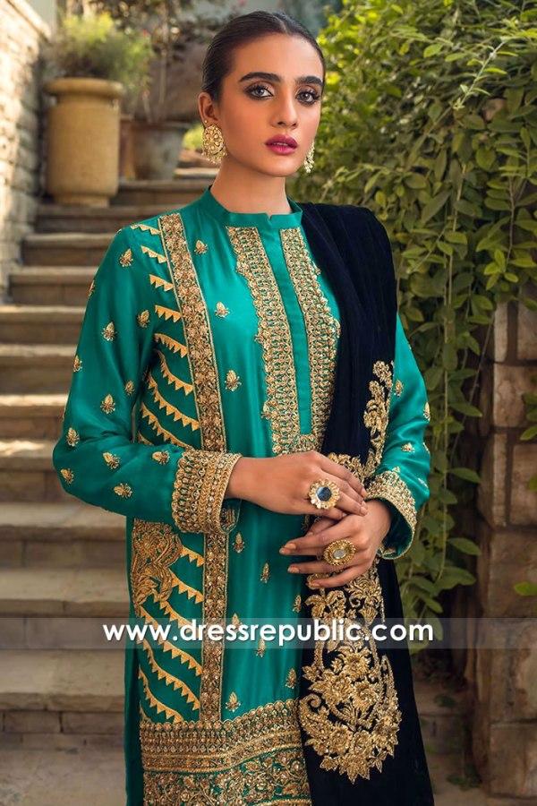 DR15770b Shalwar Kameez with Velvet Shawl 2020 Salwar Kameez Online Shop