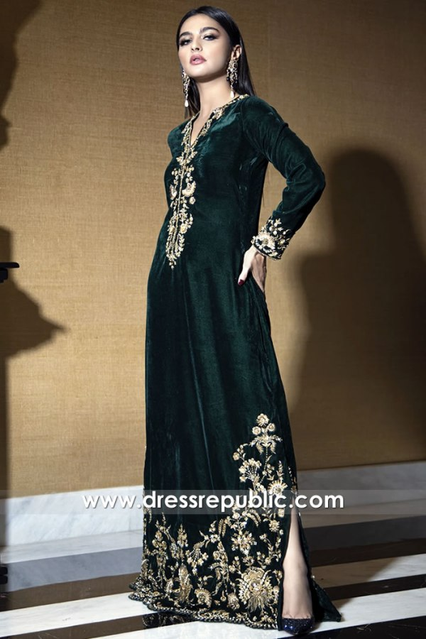 DR15777b Velvet Hand Embellished Holiday Kaftan Online Buy in USA, Canada