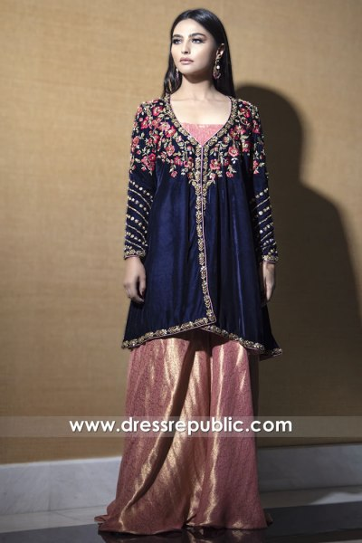 DR15785 Navy Sharara Style Online Toronto, Mississauga, Vancouver, Canada
