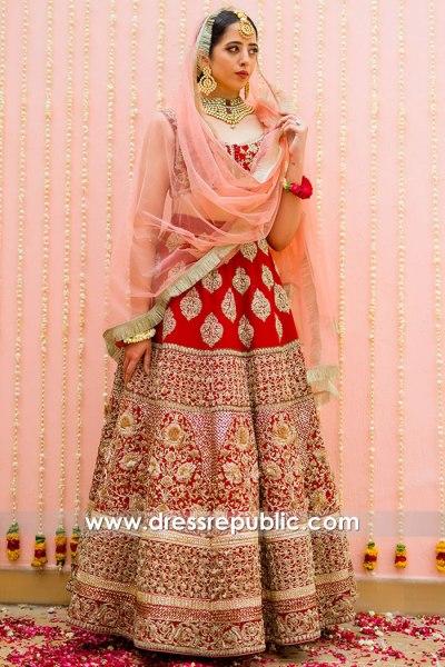 DR15811 Bride Red Lehenga Choli and Dupatta Wedding Lehenga 2020 USA