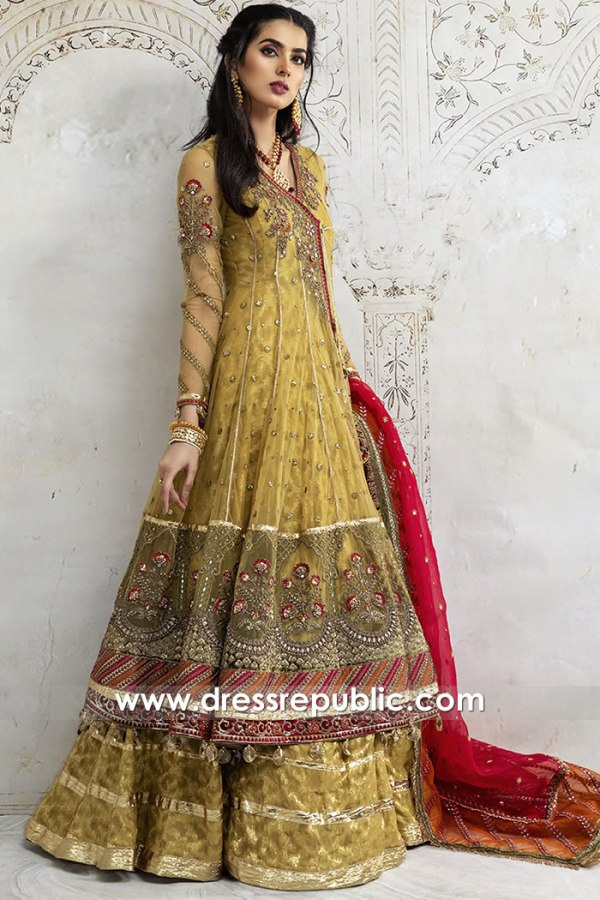 DR15901 Anarkali Lehenga For Mehndi Henna Bridal Party Buy Online