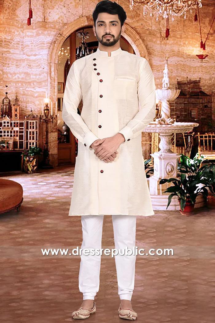 DRM5512 Beige Angrakha Jodhpuri Sherwani Style, Angarkha Kurta USA, Canada