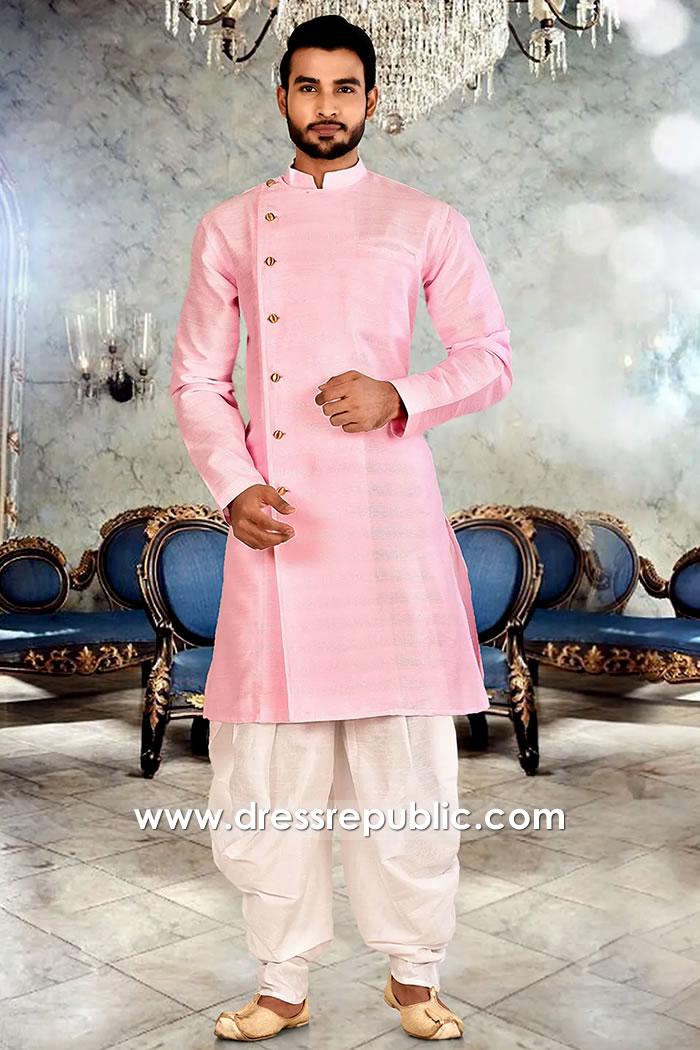DRM5513 Pink Angrakha Jodhpuri Sherwani Style, Angarkha Kurta UK, Australia