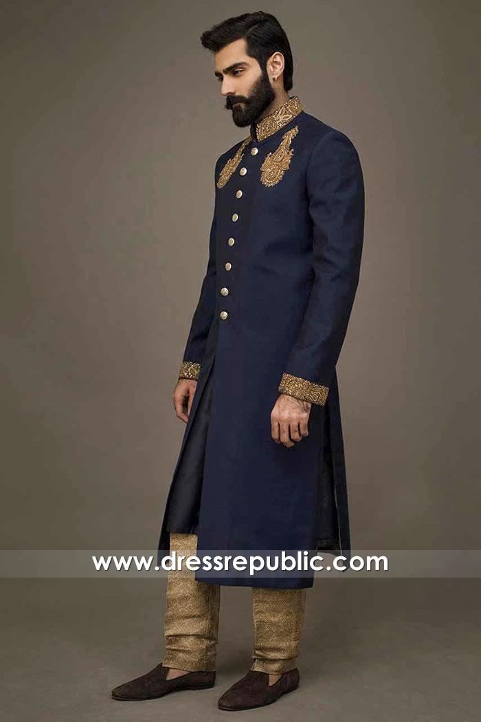 DRM5525 Blue Long Sherwani for Groom Buy Dulha Dresses 2020 in England, UK