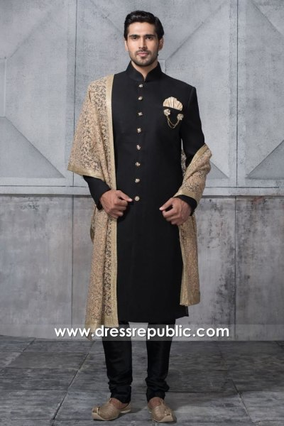 DRM5526 Black Sherwani for Groom 2020 Collection Buy Online in England, UK