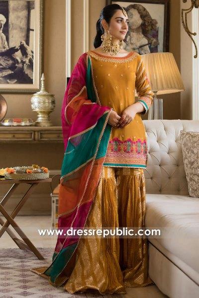 DR16059 Orange Mehndi Mayon Dress for Bride 2021 Collection Buy Online