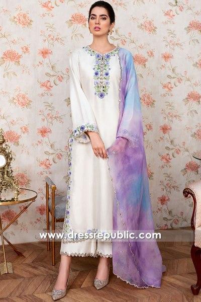 DR16090 Pearl White Raw silk Long Salwar Kameez Buy Online in California, USA