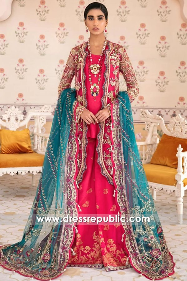 DR16127 Pakistani Designer Dresses in Pink Colour for Engagement Bride in UK