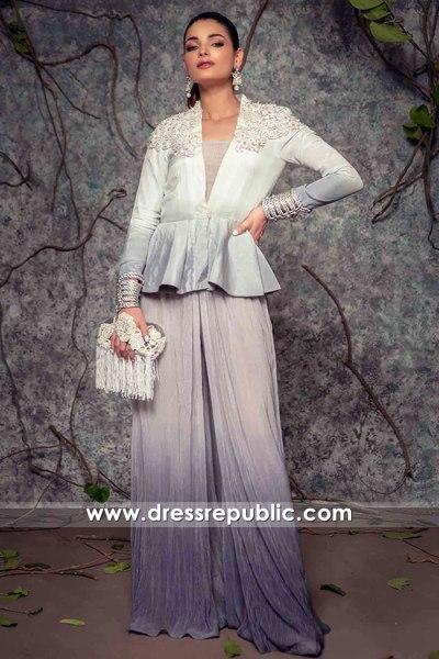 DR16147 Latest Pakistani Party Wear Fashion 2021, Peplum Jacket with Culottes
