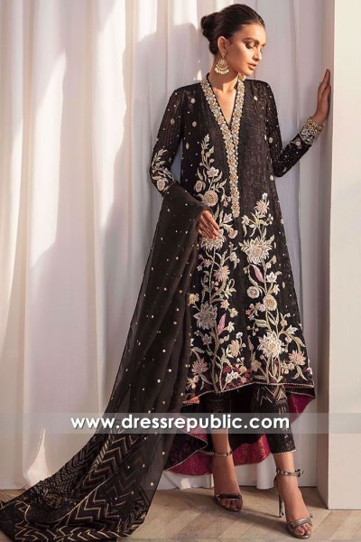 DR16170 Pakistani Designer Dress in Black for Fall Winter 2021 Buy Online in USA