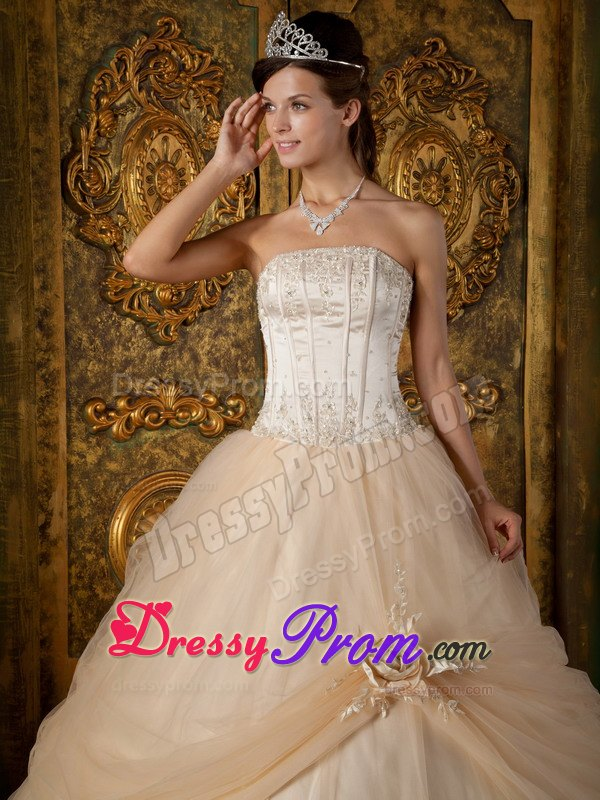 Strapless Champagne Appliques Tulle Quinceanera Dress