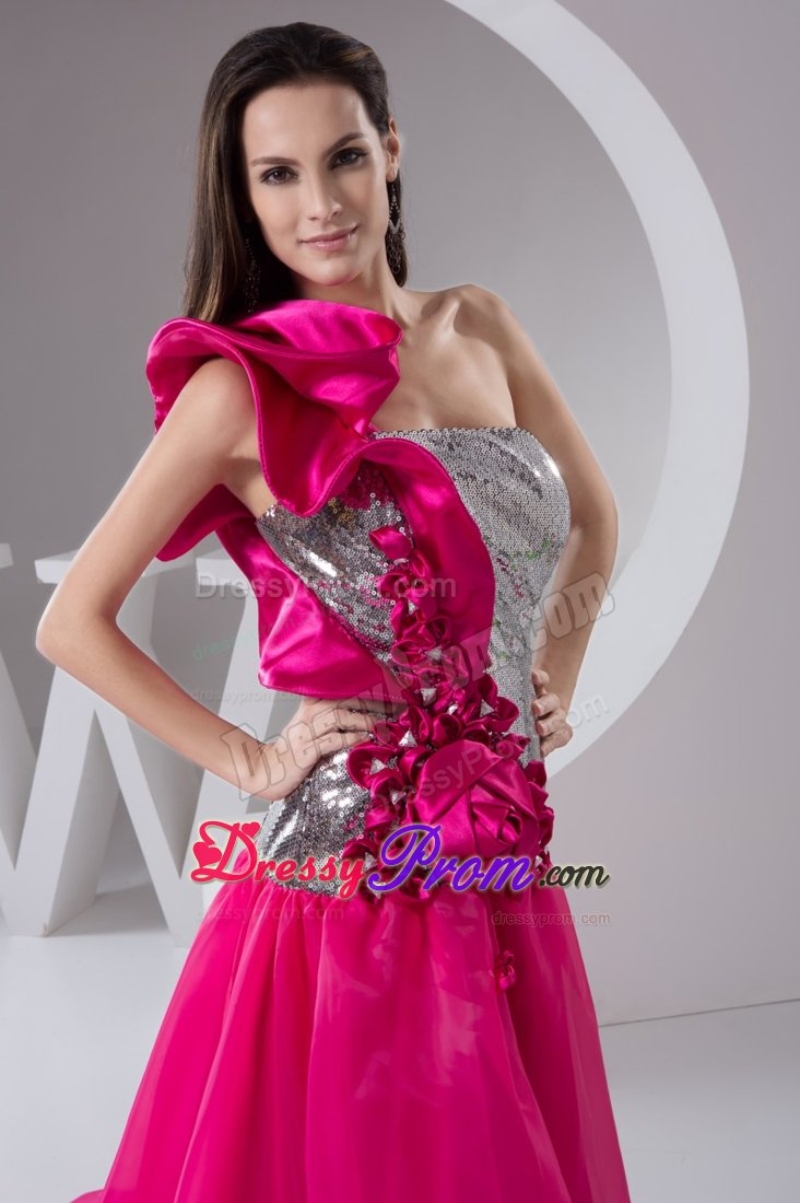 Highlow one Shoulder Sequins Hot Pink and Silver Prom Dress
