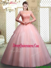 Pretty Bateau Long Sleeves Beading and Appliques ...
