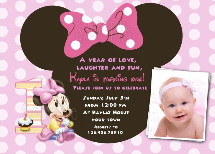 Minnie Mouse 1st Birthday Invitations Drevio Invitations