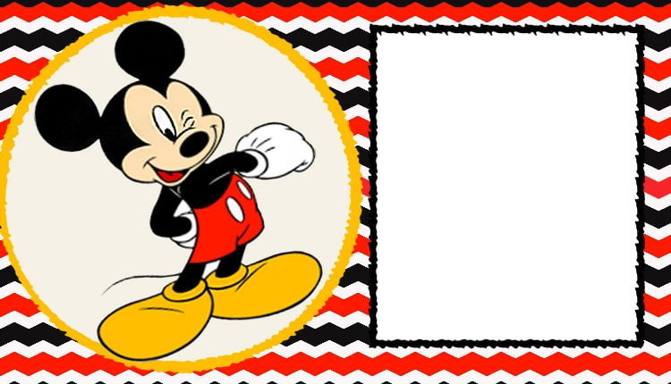 FREE Blank Mickey Mouse 1st Invitation Chevron Template