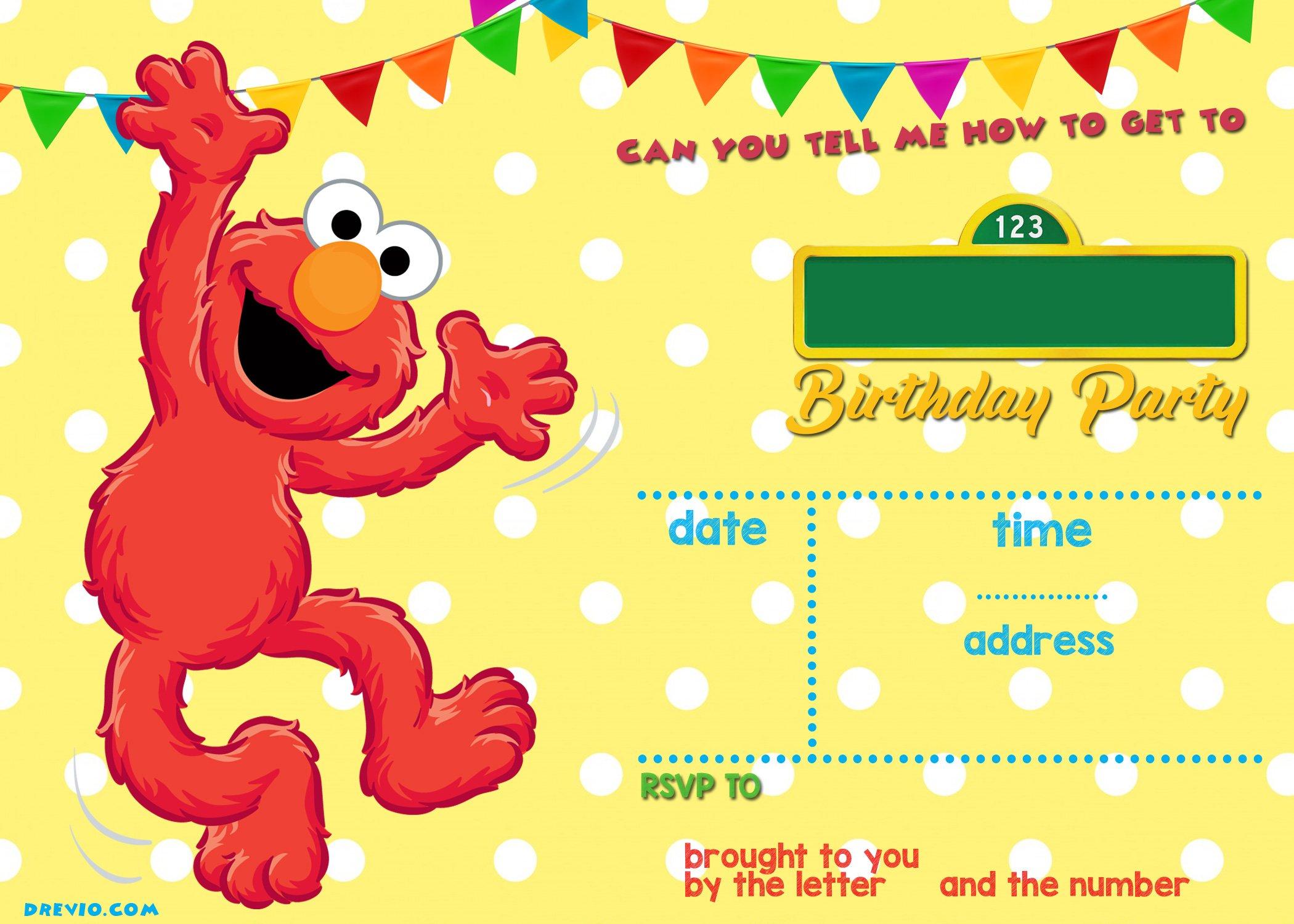 Sesame Street Birthday Invitations Online FREE