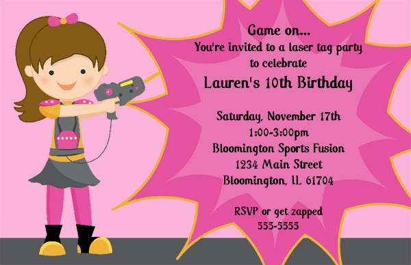 Laser Tag Birthday Party Invitations Template FREE