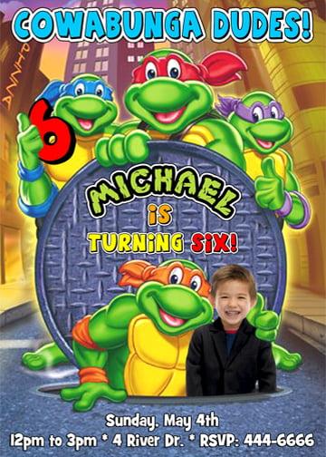 Ninja Turtle Birthday Party Invitations  FREE Invitation
