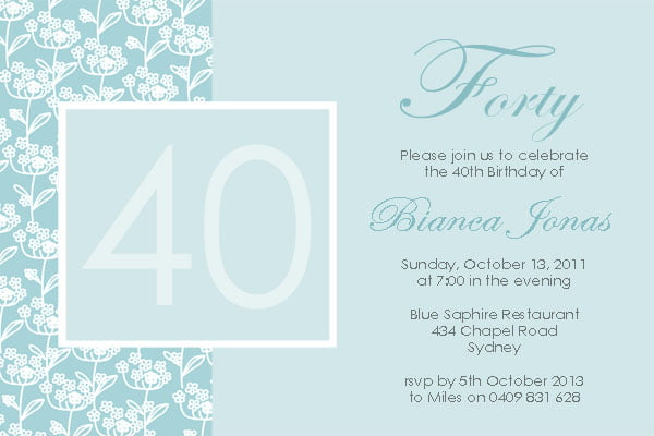 FREE Printable 40th Birthday Invitations For Women FREE
