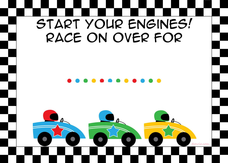 Free Printable Race Car Birthday Party Invitations