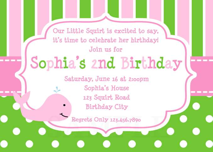 Make an informal invitation card for a birthday party green pink how to design birthday invitations stopboris Gallery