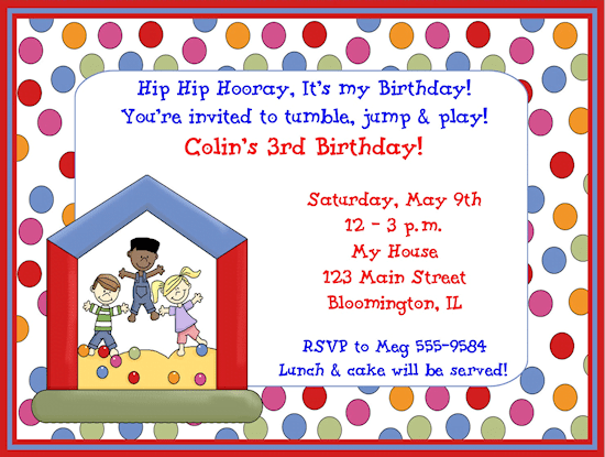 Invitation Card Childrens Birthday Party