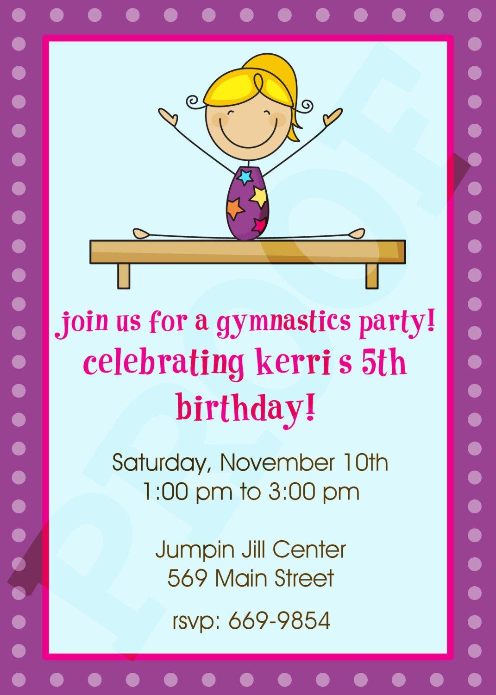 Free Printable Gymnastic Birthday Invitations Updated Free Invitation Templates