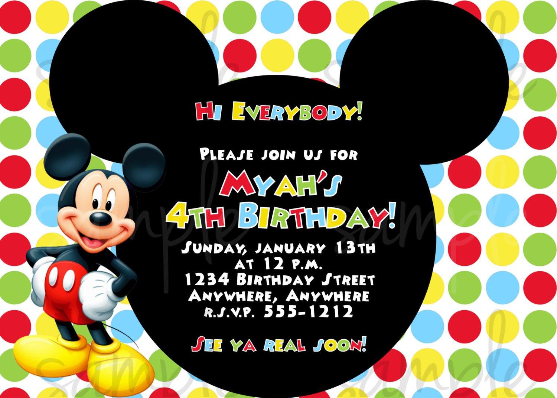 Free Printable Mickey Mouse Invitatons Birthday