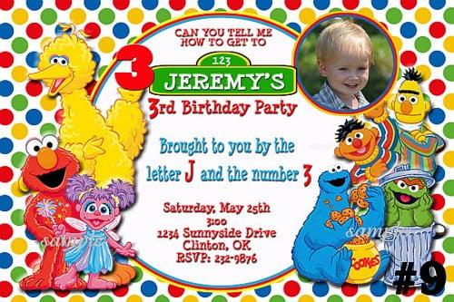 Personalized Sesame Street Invitations