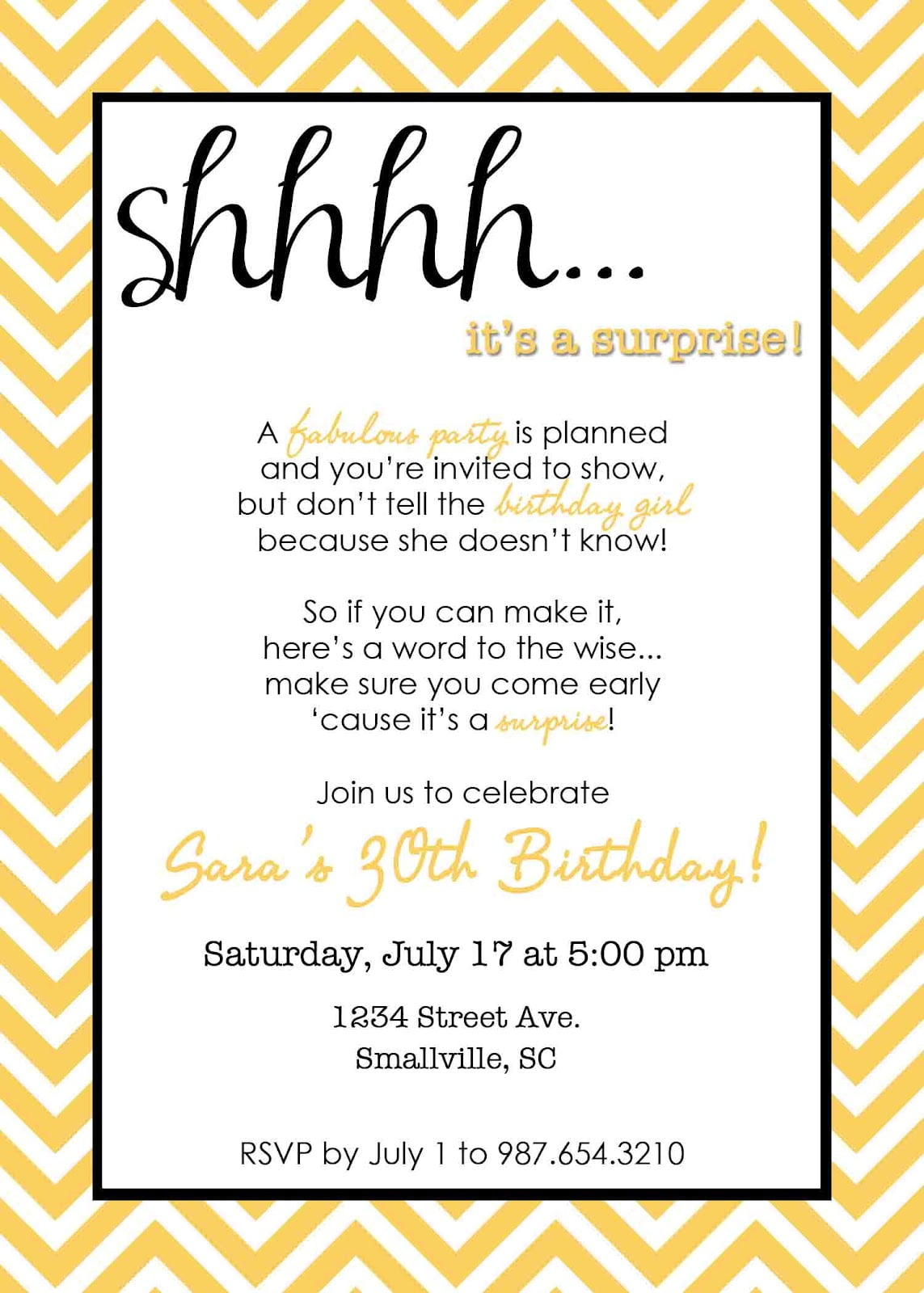 surprise bday invite wording