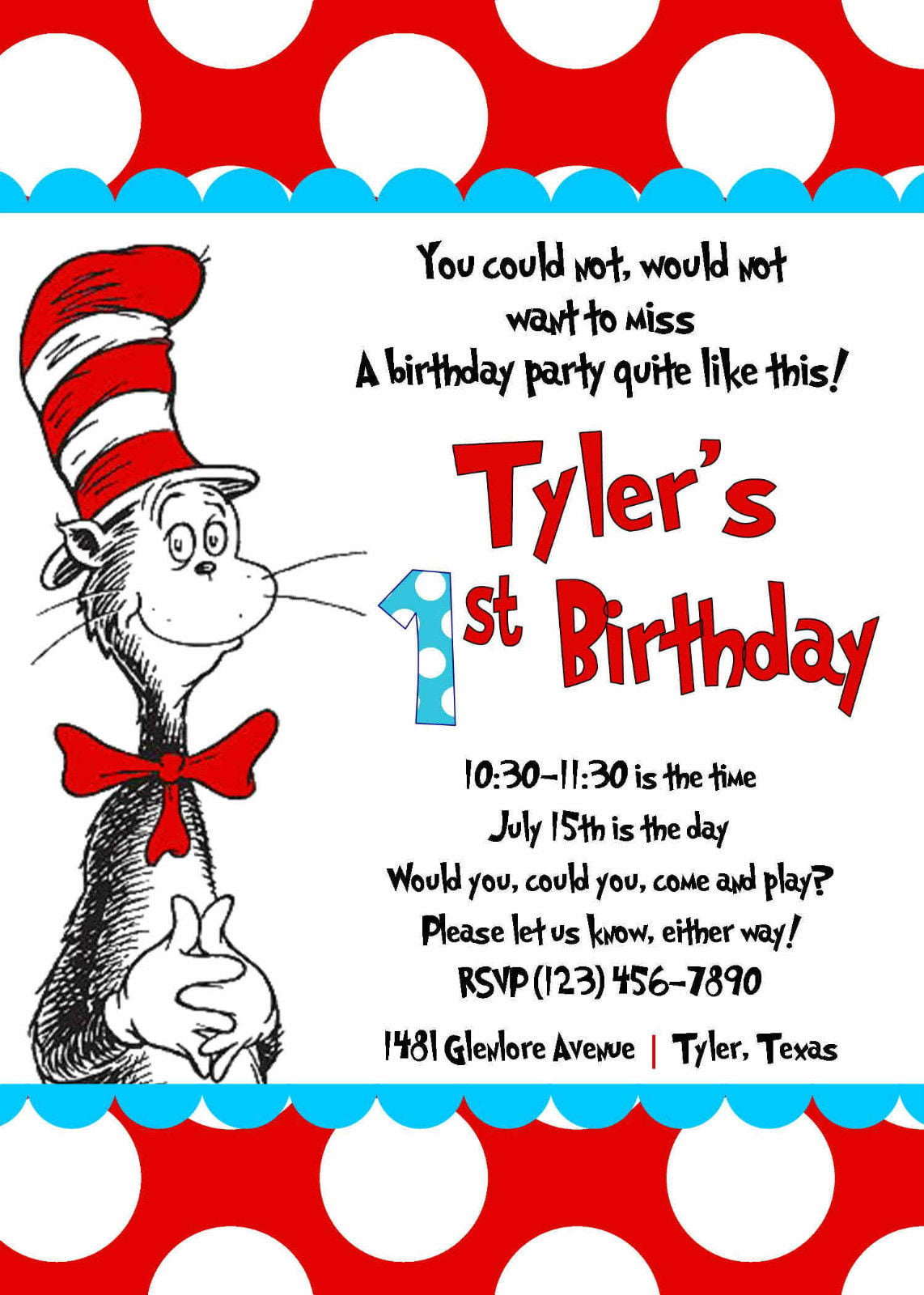 Free Printable Cat In The Hat Birthday Party Invitations