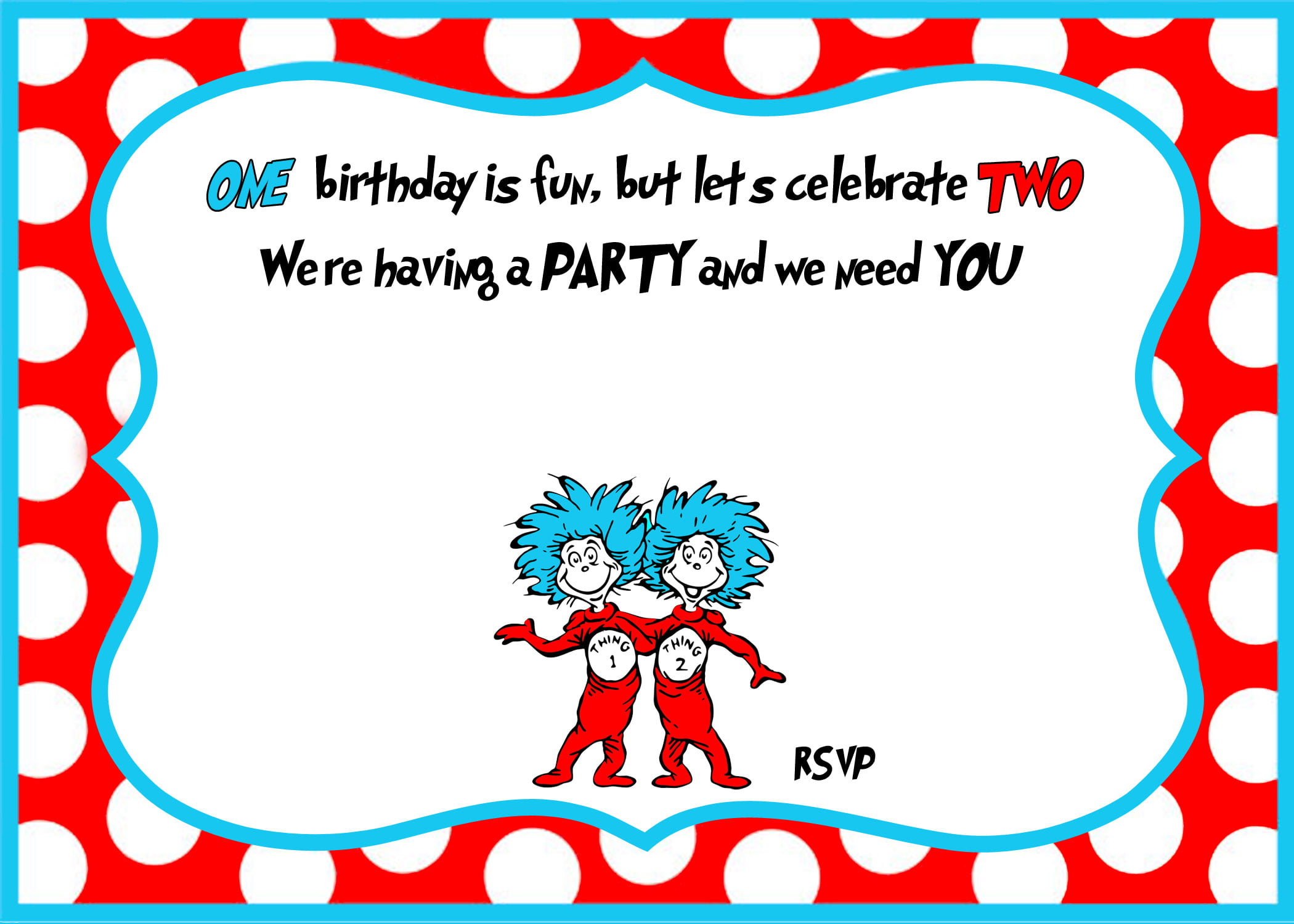 Dr Seuss Birthday Invitation Template For Twins
