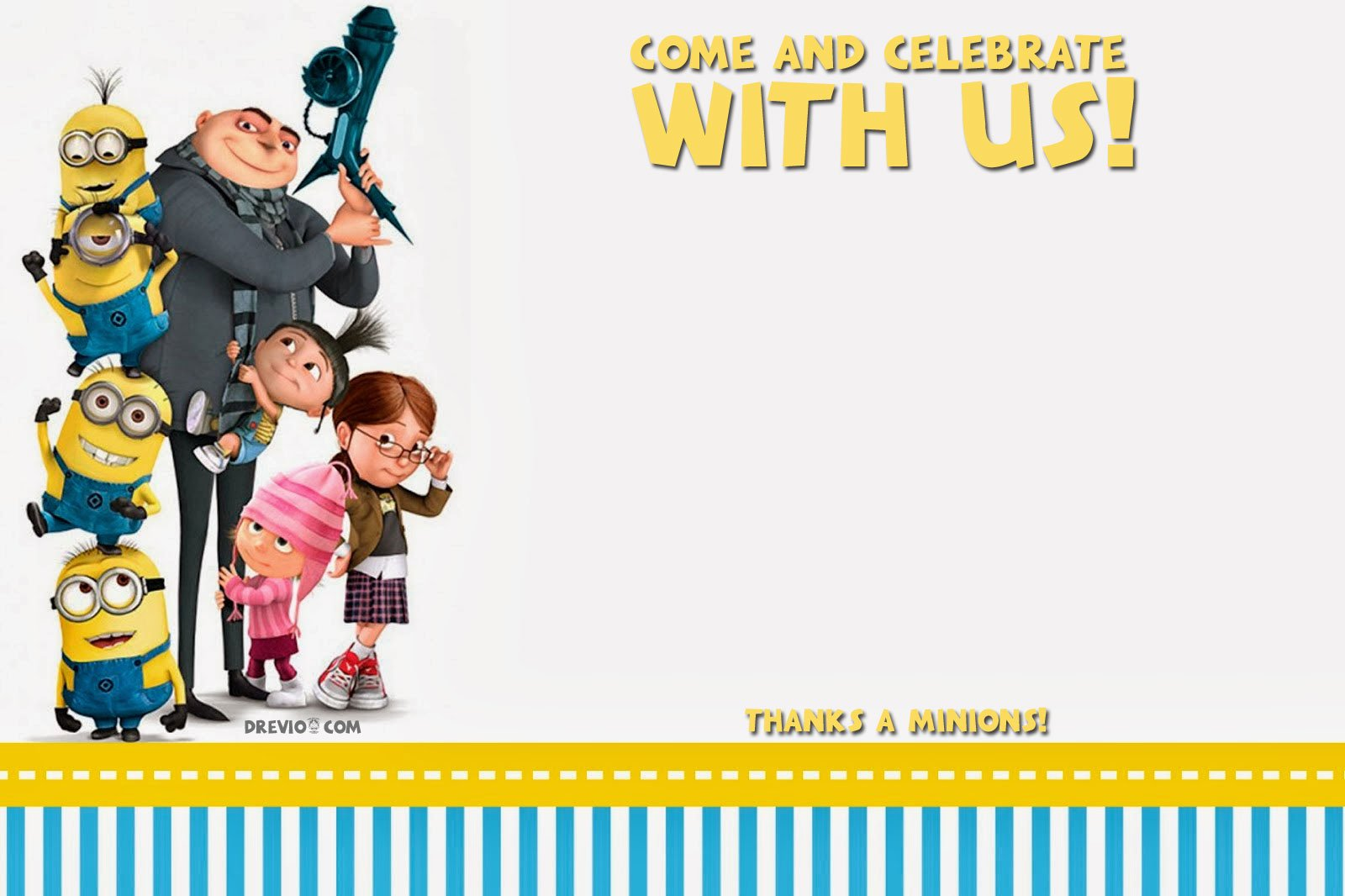 25 unique minions invitation background