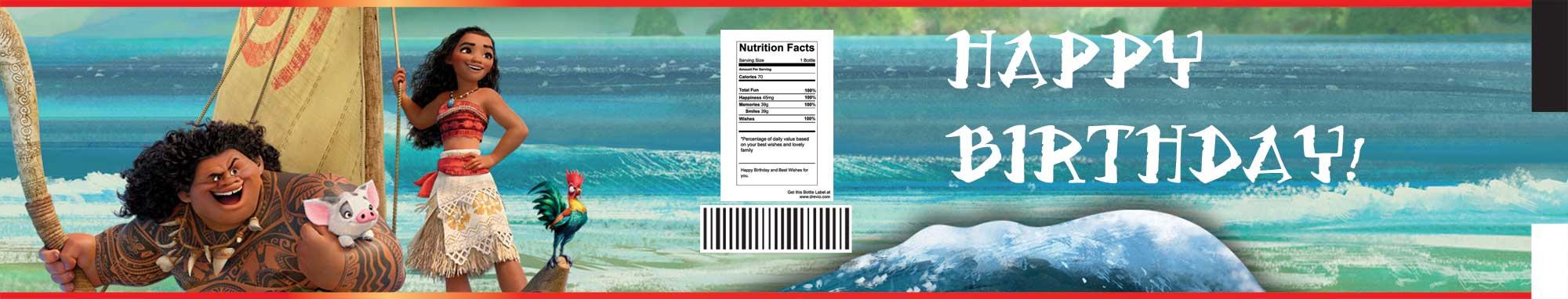 FREE Moana Water Bottle Labels Template FREE Invitation Templates Drevio