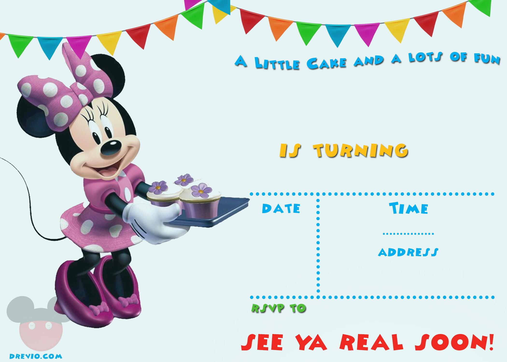 minnie mouse template invitation