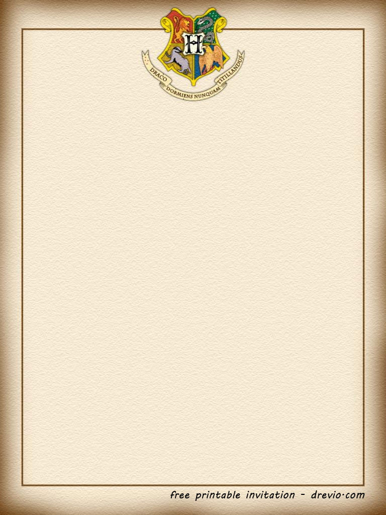 FREE Printable Harry Potter – Hogwarts Invitation Template