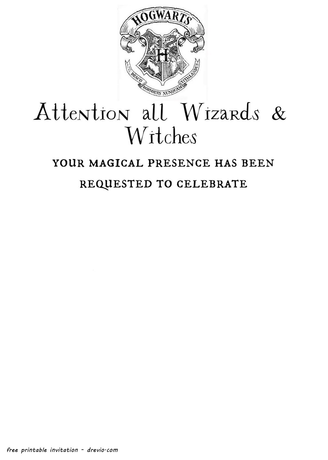 Free Printable Harry Potter Hogwarts Invitation Template