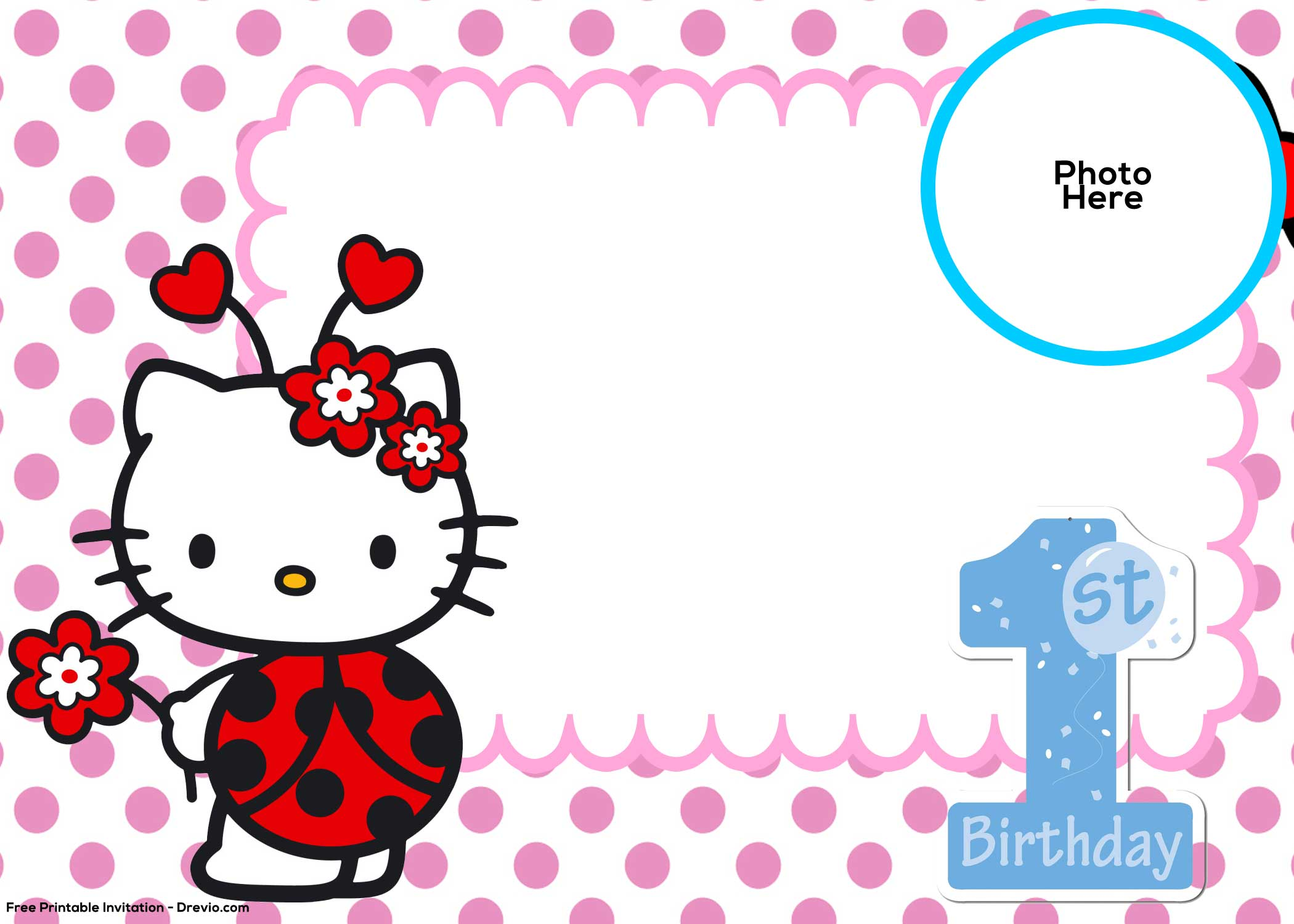 free hello kitty 1st birthday
