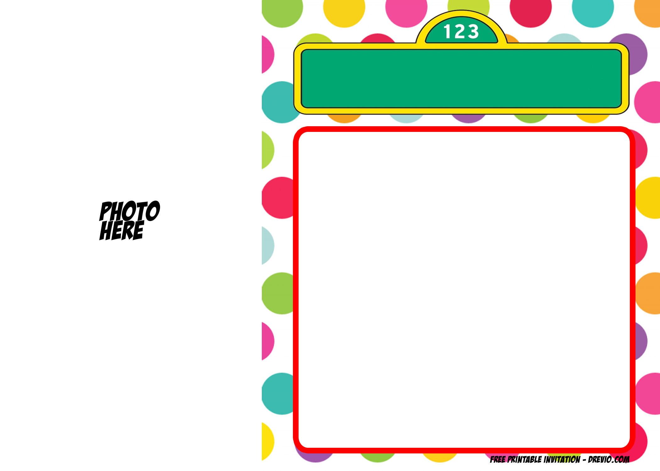 Free Printable Polka Dot Sesame Street Invitation