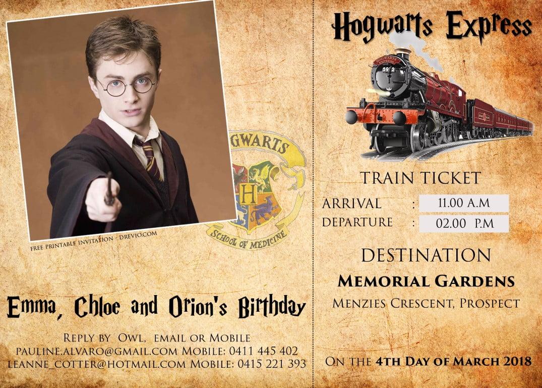FREE Harry Potter Hogwarts Express Ticket Invitation PSD Template ...