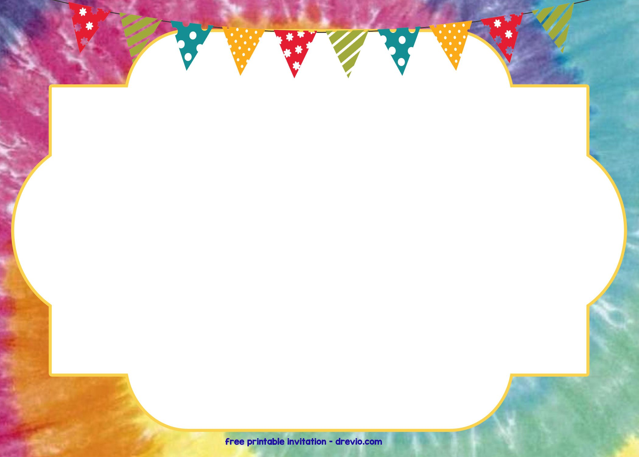 tie dye birthday party invitations