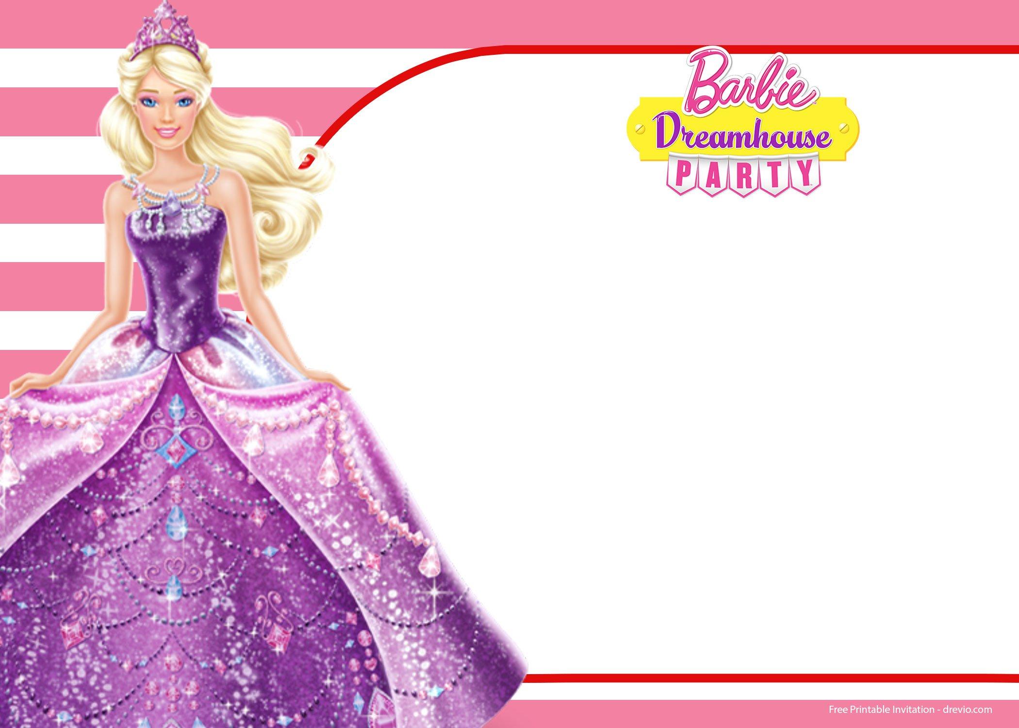 barbie invitation templates